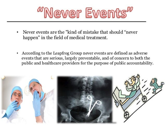 never events Cms to hospitals: if it should never happen, we will never pay : introduction effective october 1, 2008, as mandated by the deficit reduction act of 2005 (dra), the centers for medicare & medicaid services (cms) will require medicare-participating hospitals to disclose all hospital.