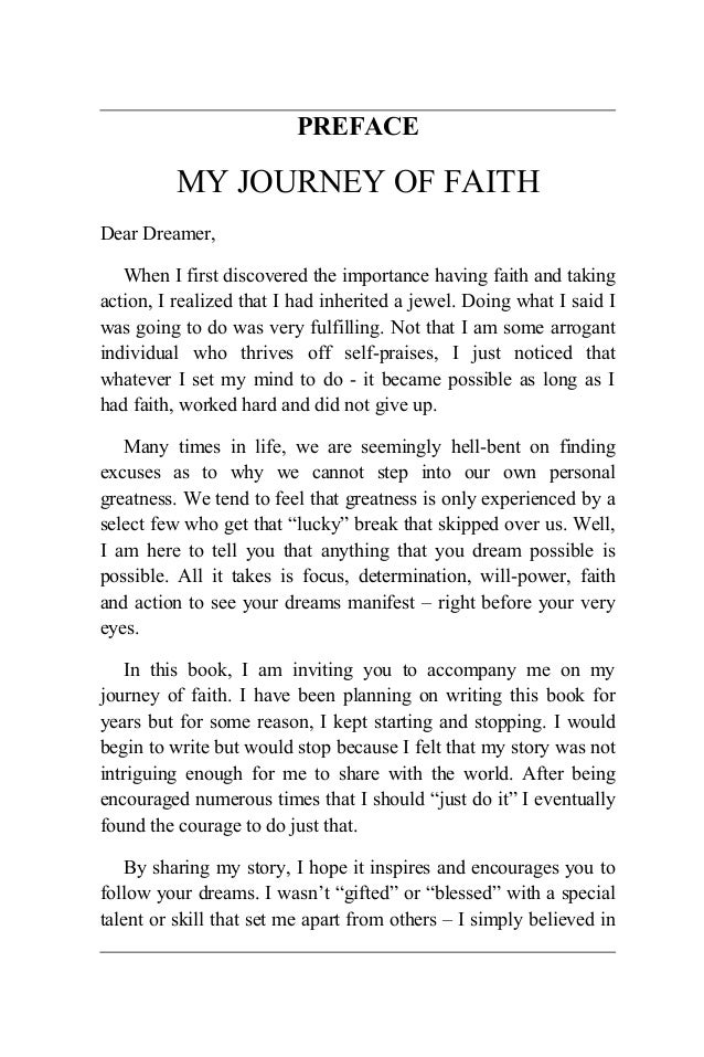 never give up on your dreams my journey of faith preface intro  preface my journey of faith dear dreamer when i first discovered the importance having faith