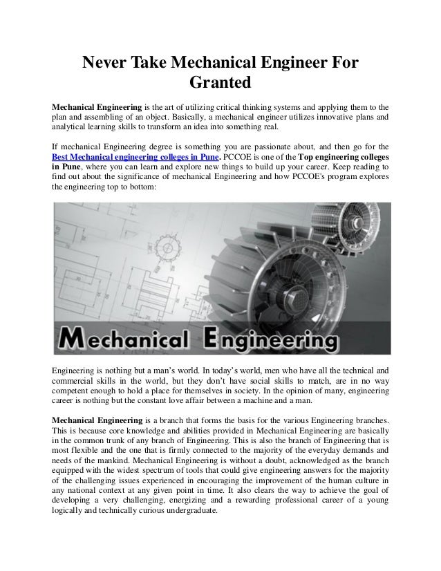 Never Take Mechanical Engineer For Granted