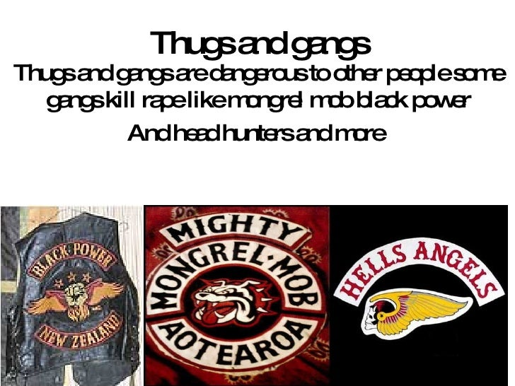 Thugs and gangs Thugs and gangs are dangerous to other people some gangs kill rape like mongrel mob black power And head h...