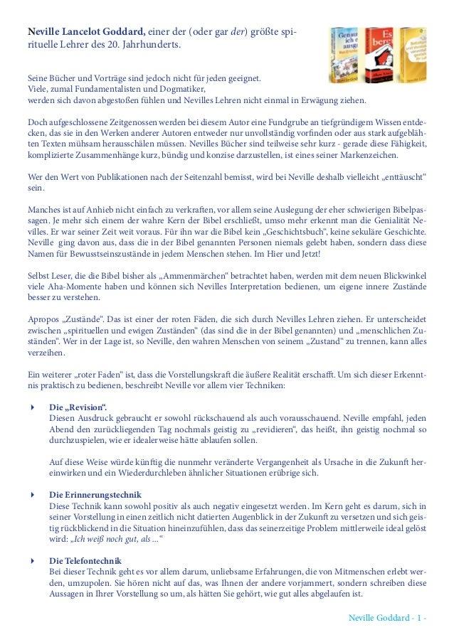 Neville Goddard - 1 - Neville Lancelot Goddard, einer der (oder gar der) größte spi- rituelle Lehrer des 20. Jahrhunderts....