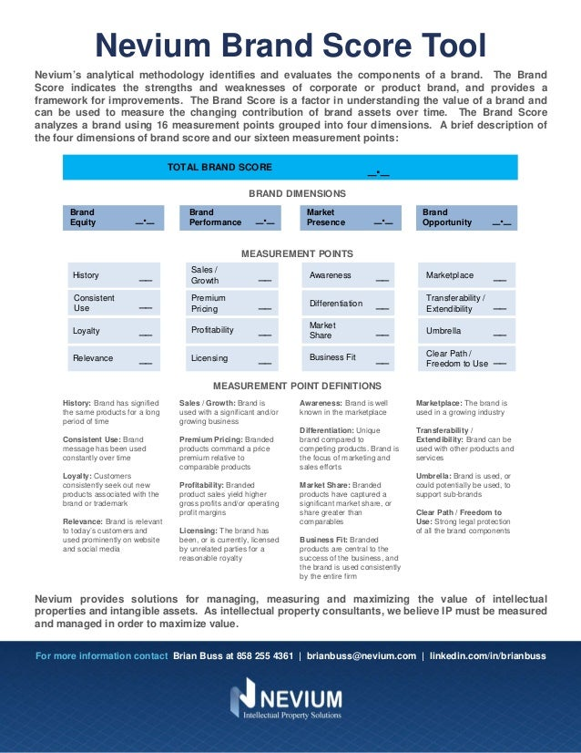 Nevium Brand Score Tool Nevium's analytical methodology identifies and evaluates the components of a brand. The Brand Scor...