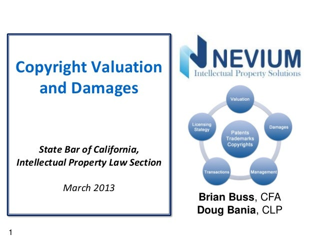 1Copyright Valuationand DamagesState Bar of California,Intellectual Property Law SectionMarch 2013Brian Buss, CFADoug Bani...