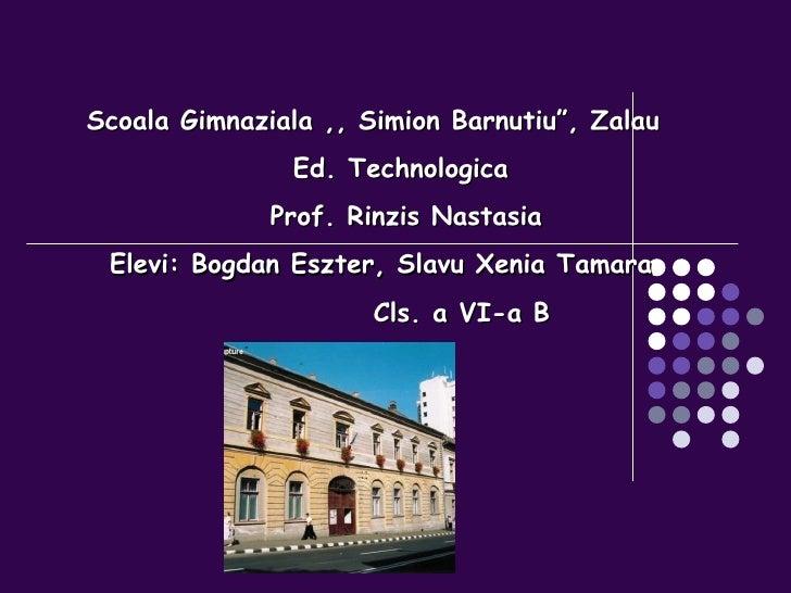 "Scoala Gimnaziala ,, Simion Barnutiu"", Zalau Ed. Technologica Prof. Rinzis Nastasia Elevi: Bogdan Eszter, Slavu Xenia Tama..."
