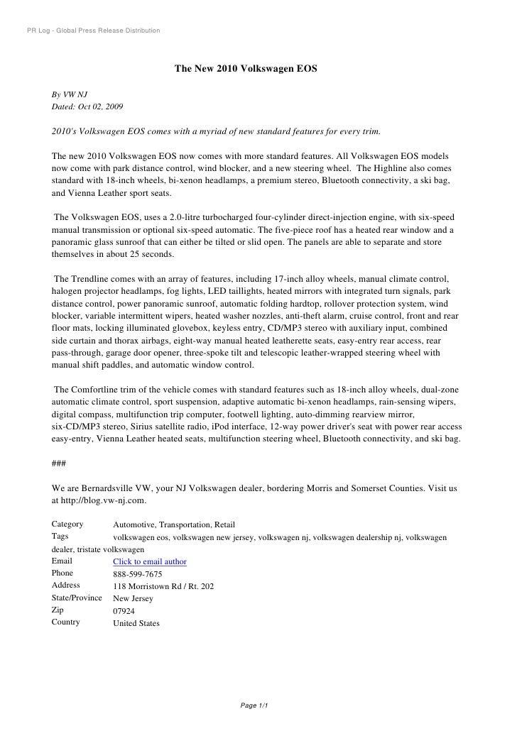 PR Log - Global Press Release Distribution                                                  The New 2010 Volkswagen EOS   ...