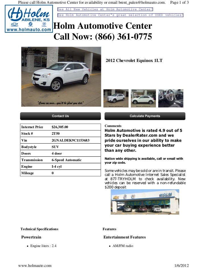 New Chevrolet Equinox Wichita KS Holm Automotive Center T - Holm chevrolet