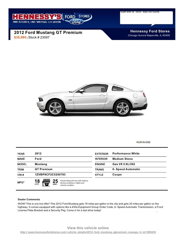 New 2012 Ford Mustang Gt Premium