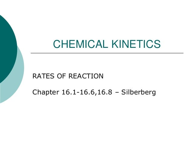 CHEMICAL KINETICS RATES OF REACTION  Chapter 16.1-16.6,16.8 – Silberberg