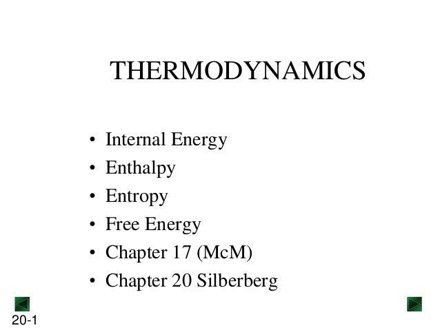 THERMODYNAMICS • • • • • • 20-1  Internal Energy Enthalpy Entropy Free Energy Chapter 17 (McM) Chapter 20 Silberberg
