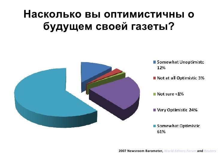Насколько вы оптимистичны о будущем своей газеты? 2007 Newsroom Barometer,  World Editors Forum  and  Reuters