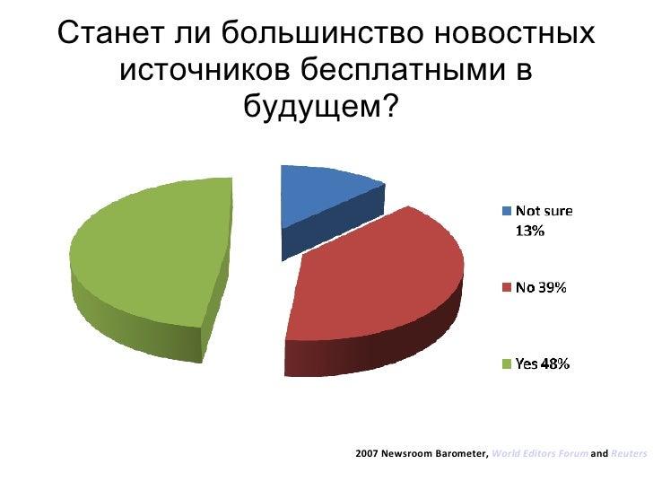 Станет ли большинство новостных источников бесплатными в будущем?  2007 Newsroom Barometer,  World Editors Forum  and  Reu...