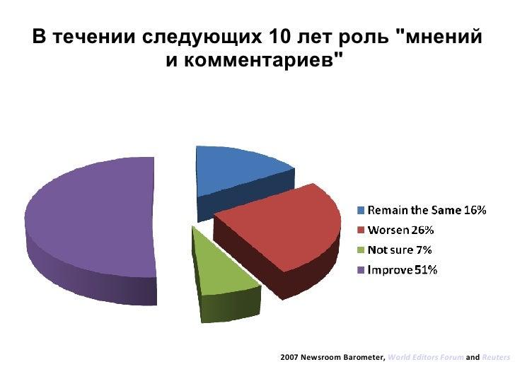"""В течении следующих 10 лет роль """"мнений и комментариев""""  2007 Newsroom Barometer,  World Editors Forum  and  Reu..."""