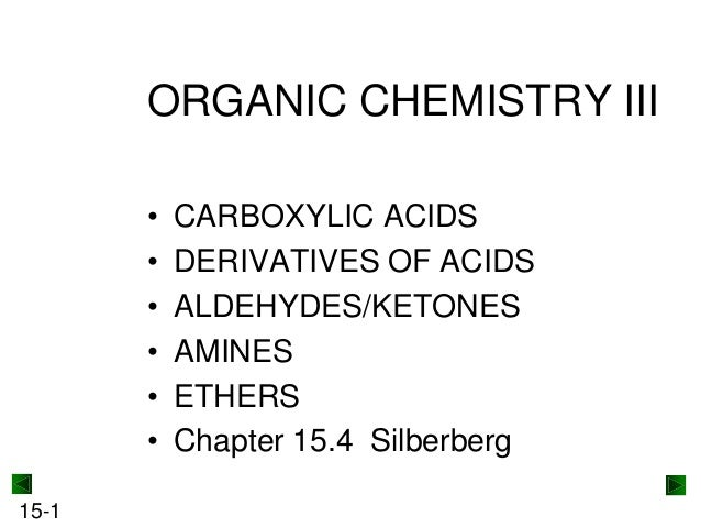ORGANIC CHEMISTRY III • • • • • • 15-1  CARBOXYLIC ACIDS DERIVATIVES OF ACIDS ALDEHYDES/KETONES AMINES ETHERS Chapter 15.4...