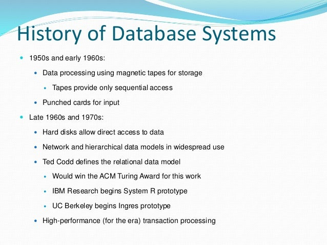 an introduction to object oriented database management systems since the 1980s Introduction to data mining techniques  oriented, object relational,  active, scientific, knowledge database management systems (1970s-early 1980s.