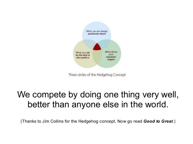 We compete by doing one thing very well, better than anyone else in the world. (Thanks to Jim Collins for the Hedgehog con...