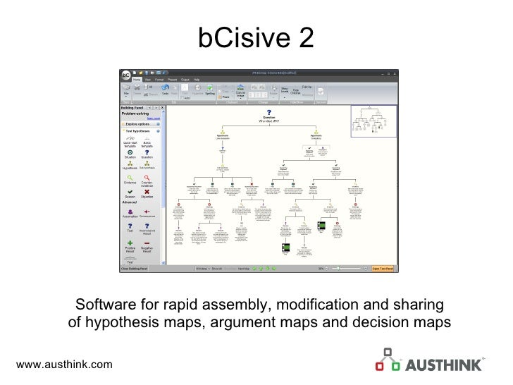 bCisive 2 Software for rapid assembly, modification and sharing of hypothesis maps, argument maps and decision maps