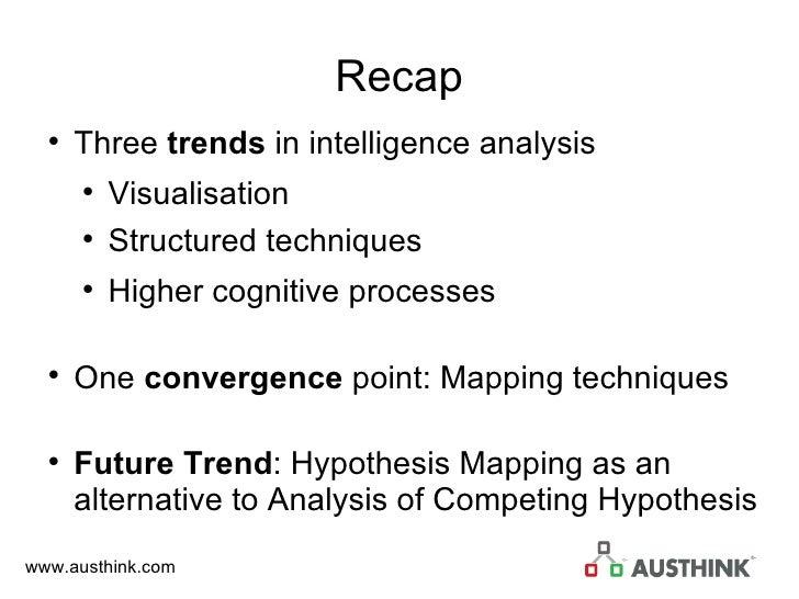 Recap <ul><li>Three  trends  in intelligence analysis </li></ul><ul><ul><li>Visualisation </li></ul></ul><ul><ul><li>Struc...