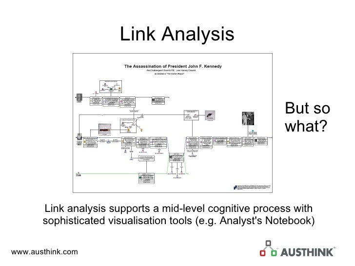 Link Analysis Link analysis supports a mid-level cognitive process with sophisticated visualisation tools (e.g. Analyst's ...