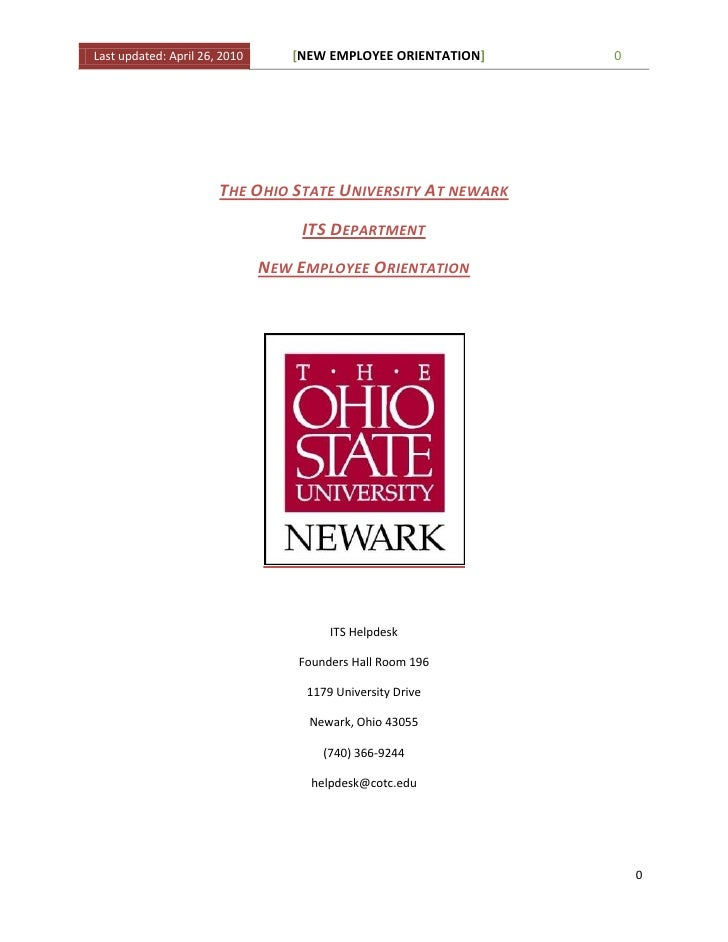 The Ohio State University At newark<br />ITS Department<br />New Employee Orientation  <br />ITS Helpdesk <br />Founders H...