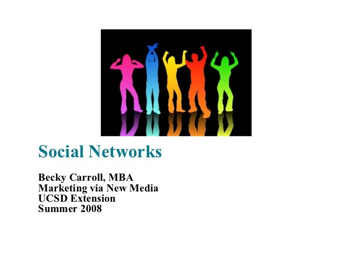 Social Networks Becky Carroll, MBA Marketing via New Media UCSD Extension Summer 2008