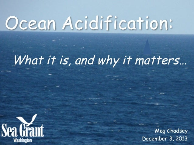 Ocean Acidification:   What it is, and why it matters…       Meg Chadsey December 3, 2013