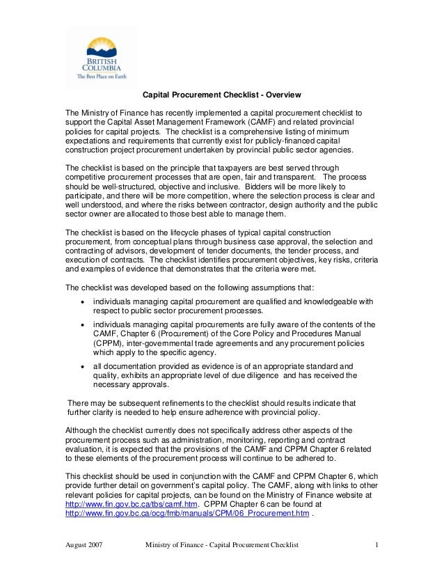 August 2007 Ministry of Finance - Capital Procurement Checklist 1 Capital Procurement Checklist - Overview The Ministry of...
