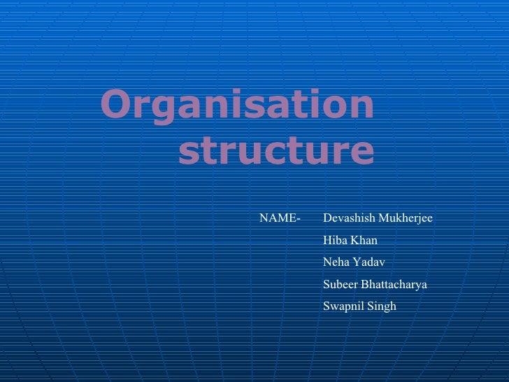 Organisation  structure NAME- Devashish Mukherjee Hiba Khan Neha Yadav Subeer Bhattacharya Swapnil Singh