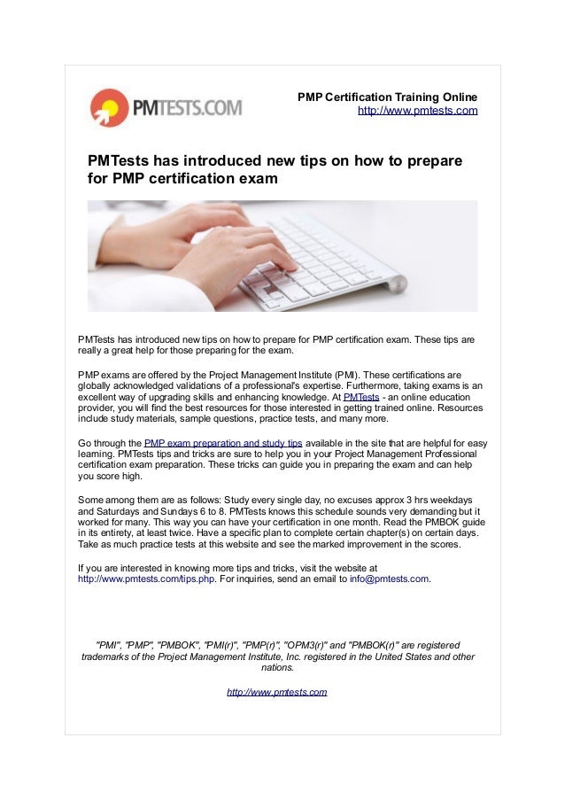 Pmtests Has Introduced New Tips On Pmp Certification Exam Preparation