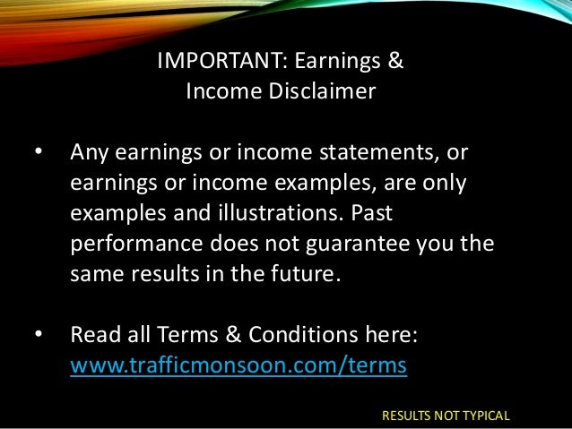 Earnings Disclaimer >> Traffic Monsoon Overview