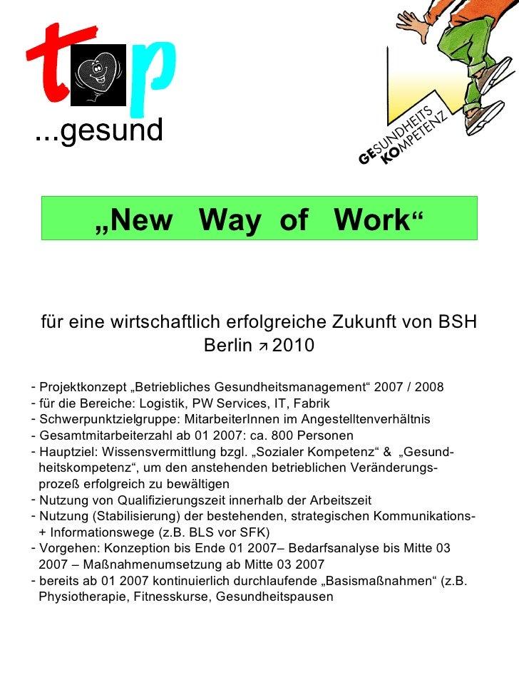""""""" New  Way  of  Work """" <ul><li>für eine wirtschaftlich erfolgreiche Zukunft von BSH Berlin     2010 </li></ul><ul><li>Pro..."""