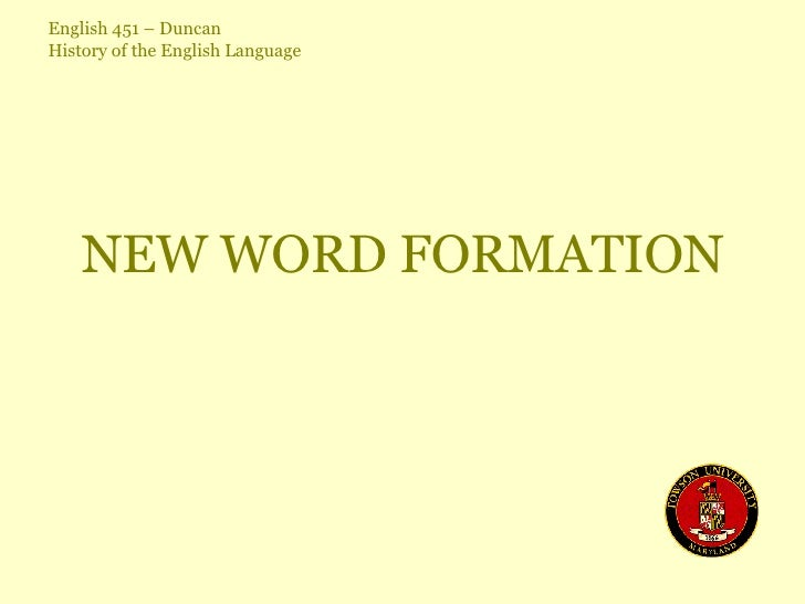 NEW WORD FORMATION