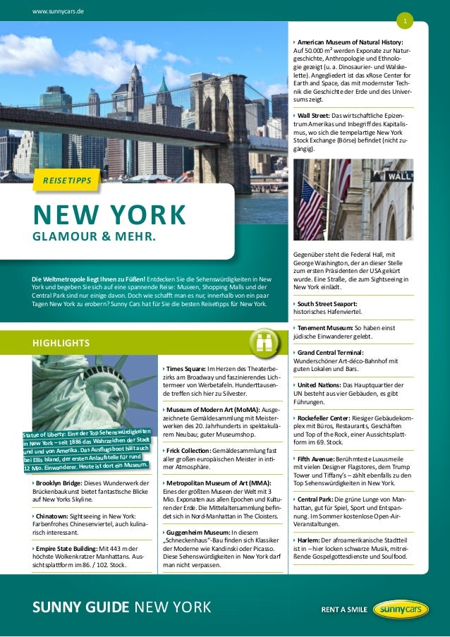 www.sunnycars.deSUNNY GUIDE NEW YORKHIGHLIGHTSREISETIPPSREISETIPPSuBrooklyn Bridge: Dieses Wunderwerk derBrückenbaukun...