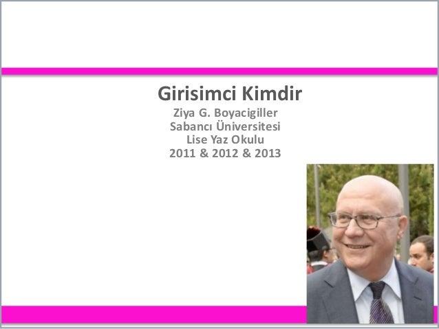 Girisimci Kimdir Ziya G. Boyacigiller Sabancı Üniversitesi Lise Yaz Okulu 2011 & 2012 & 2013