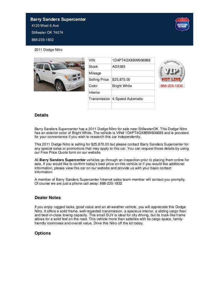 Barry Sanders Supercenter4120 West 6 AveStillwater OK 74074888-235-1832 2011 Dodge Nitro                                  ...