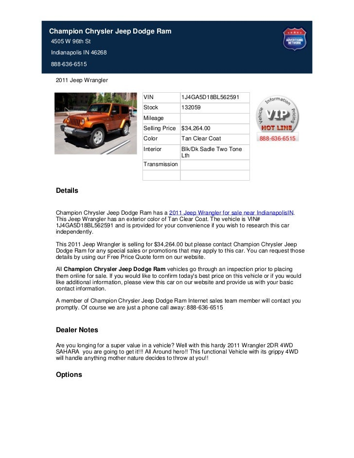 Champion Chrysler Jeep Dodge Ram4505 W 96th StIndianapolis IN 46268888-636-6515 2011 Jeep Wrangler                        ...