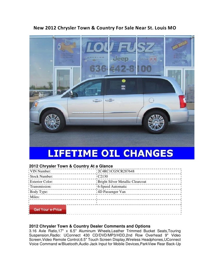 chrysler town and country 2012 bluetooth
