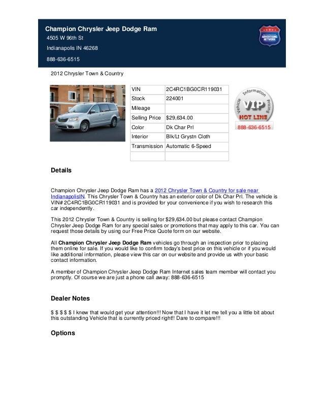 VIN 2C4RC1BG0CR119031 Stock 224001 Mileage Selling Price $29,634.00 Color Dk Char Prl Interior Blk/Lt Grystn Cloth Transmi...
