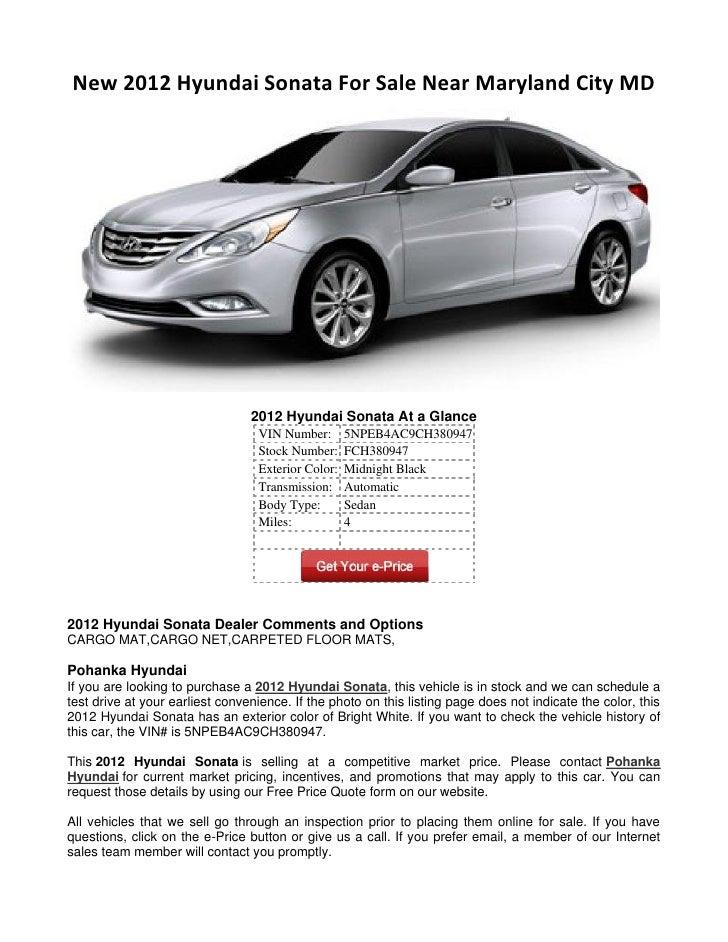 New 2012 Hyundai Sonata For Sale Near Maryland City MD 2012 ...