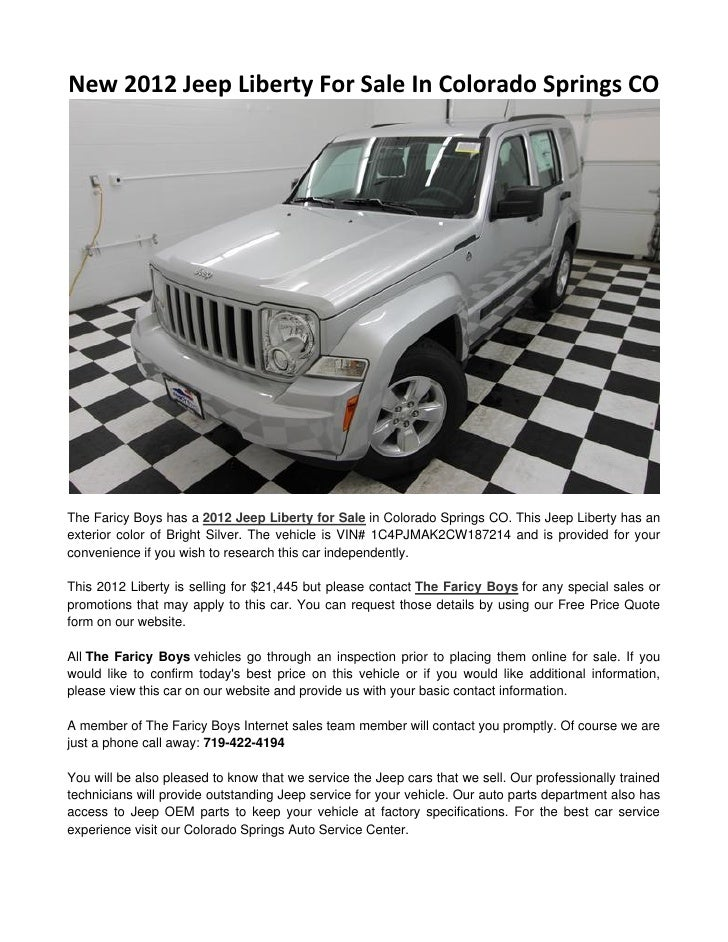 New 2012 Jeep Liberty For Sale In Colorado Springs COThe Faricy Boys Has A 2012  Jeep ...