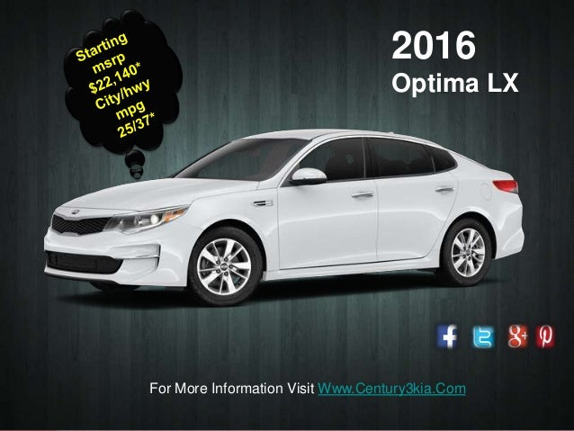 Presentation Title 2016 Optima LX For More Information Visit  Www.Century3kia.