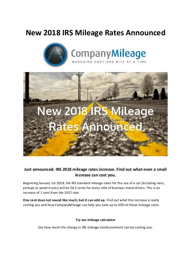 New 2018 IRS Mileage Rates Announced