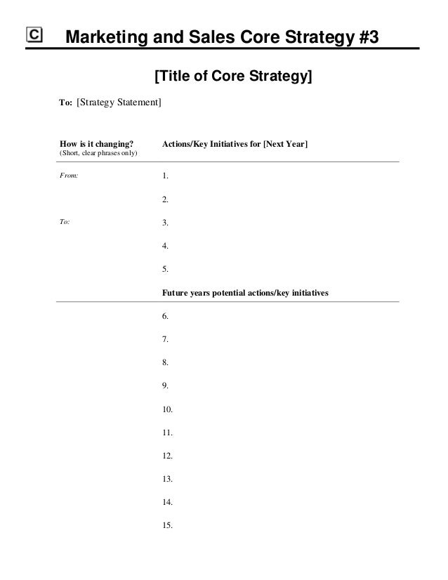 Strategic Marketing  Sales Plan Template