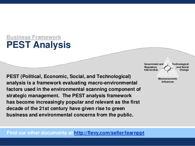 Business Framework PEST Analysis PEST (Political, Economic, Social, and Technological) analysis is a framework evaluating ...