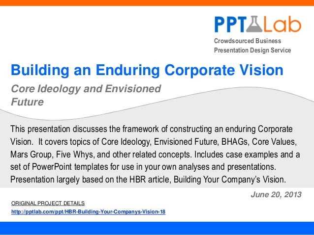 Crowdsourced Business Presentation Design Service Building an Enduring Corporate Vision Core Ideology and Envisioned Futur...