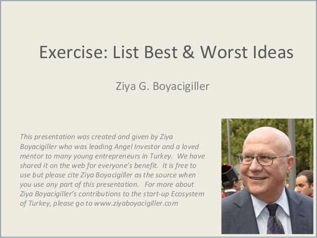 Exercise: List Best & Worst Ideas Ziya G. Boyacigiller This presentation was created and given by Ziya Boyacigiller who wa...
