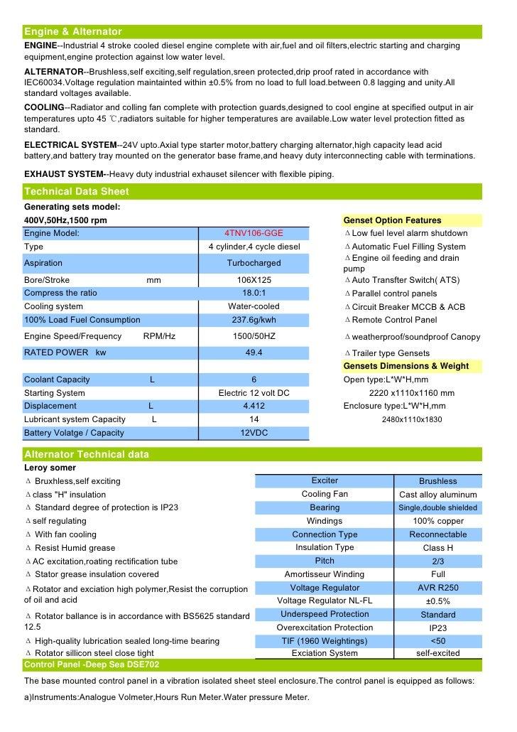 New 50 Kva Japan Yanmar diesel gensets Data Sheet