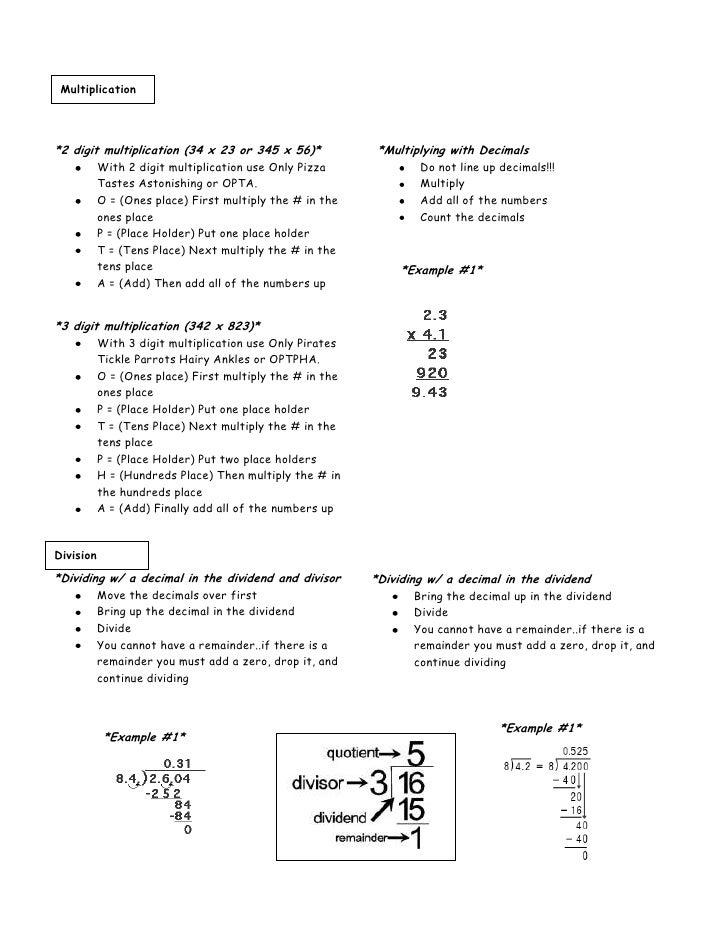 6th grade math notes