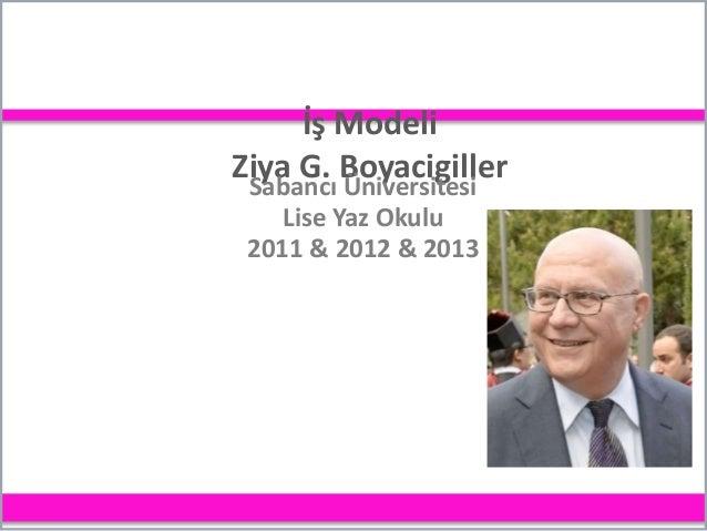 İş Modeli Ziya G. Boyacigiller Sabancı Üniversitesi Lise Yaz Okulu 2011 & 2012 & 2013