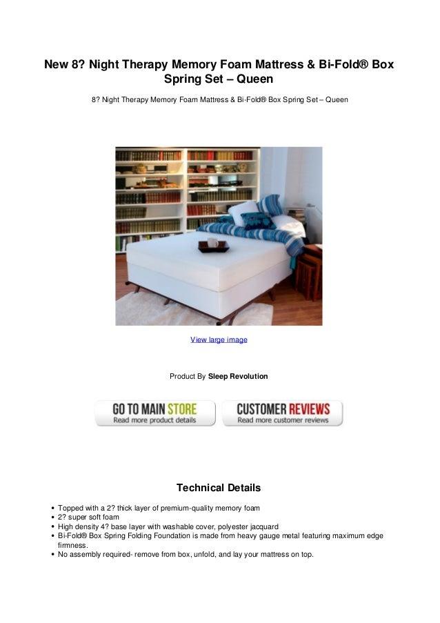 New 8 Night Therapy Memory Foam Mattress Bi Fold Box Spring Set Qu