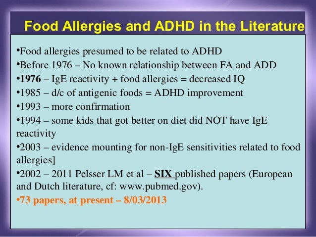 adult adhd and food allergy maintain